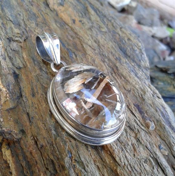 rutilated Quartz silver pendant and enamel.